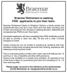 Braemar Retirement is seeking PSW applicants to join their team.