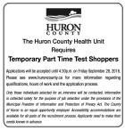 The Huron County Health Unit Requires Temporary Part Time Test Shoppers