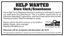 Help Wanted for Store Clerk/Greenhouse
