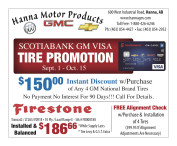 SCOTIABANK GM VISA TIRE PROMOTION at Hanna Motor Products