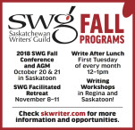 Saskatchewan Writers Guild  FALL PROGRAMS