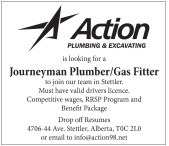 Action PLUMBING & EXCAVATING is looking for a Journeyman Plumber/Gas Fitter