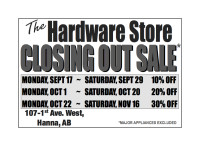 The Hardware Store CLOSING OUT SALE*
