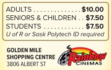 RAINBOW CINEMAS REGINA Admission