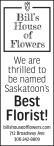 Bill's House of Flowers thrilled to be named Saskatoon's Best Florist!